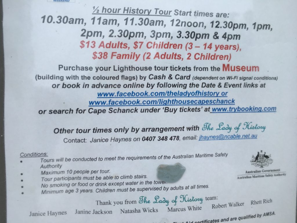 Cape Schanck Lighthouse tour schedule August 2018