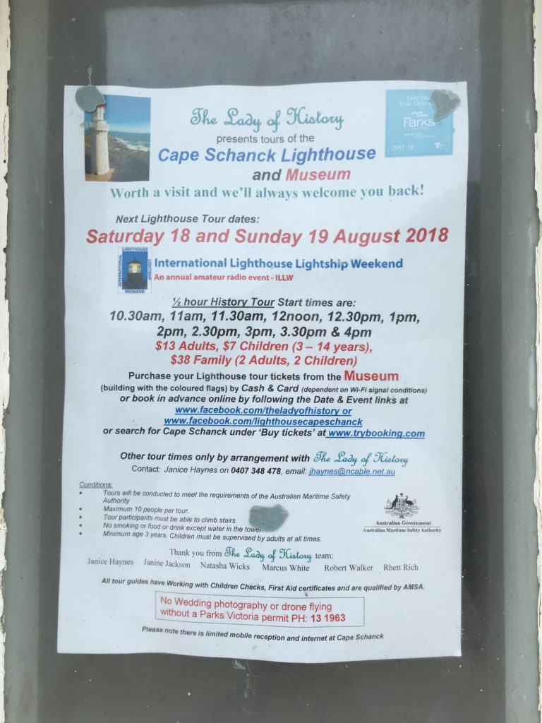 Cape Schanck Lighthouse tour schedule and tour contact, Mornington Peninsula