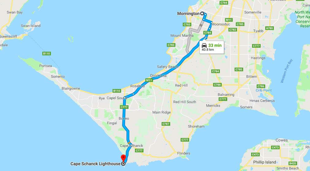 Cape Schanck lighthouse map - from Mornington