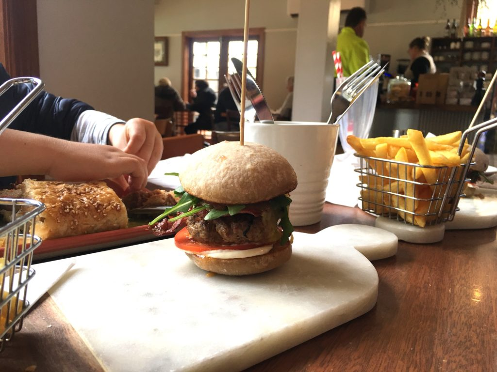 Child-friendly Flinders Bakehouse cafe burger and chips
