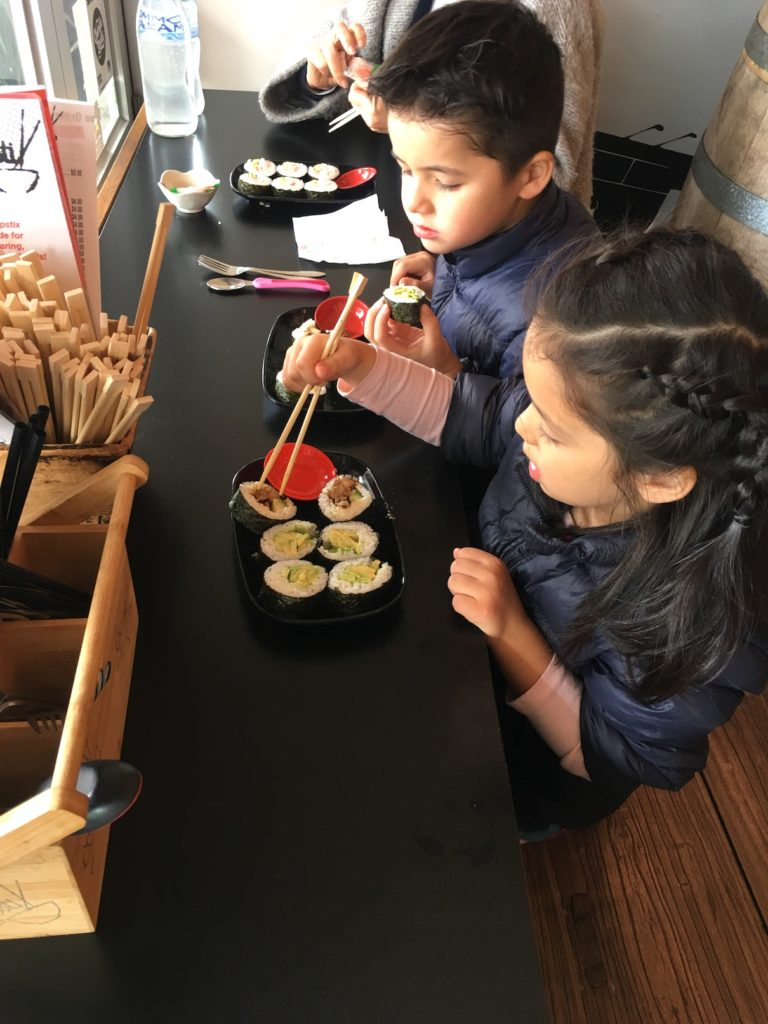 Baby-friendly Chopstix Noodle Bar in Sorrento Mornington Peninsula eating