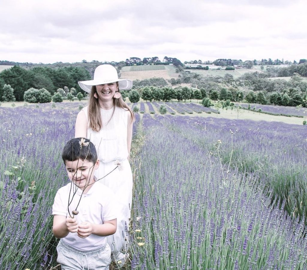 Fun with my kids in the lavender fields