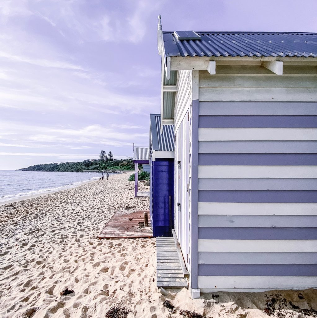 Mornington Beach in July boat sheds