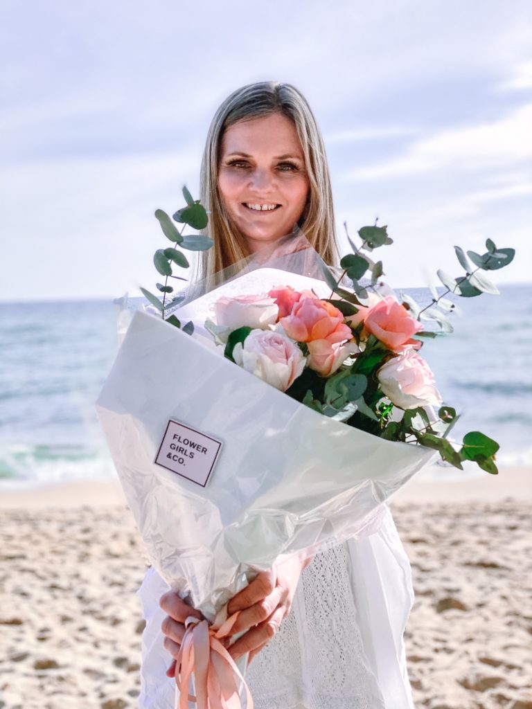 Mornington Beach in July roses from Flower Girls & Co