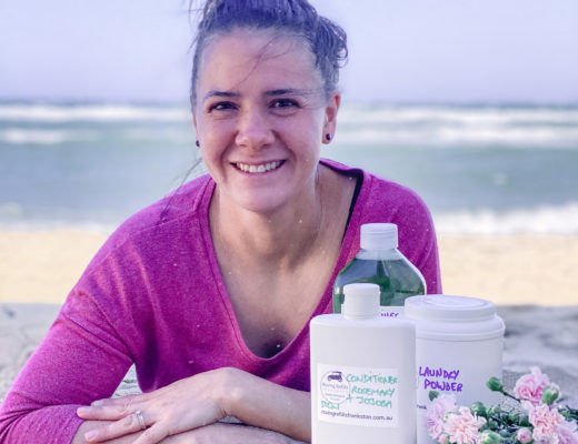 Andrea Dunkley from Roving Refills Frankston, with some of her eco-friendly detergents